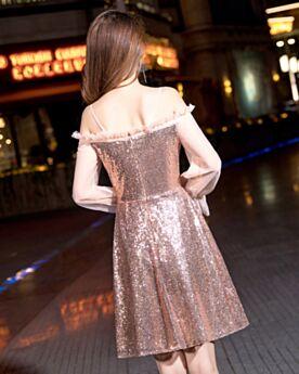 Sequin Manche Longue Epaule Dénudée Courte Patineuse Brillante Robe Pour Noel Or Rose Robe Cocktail
