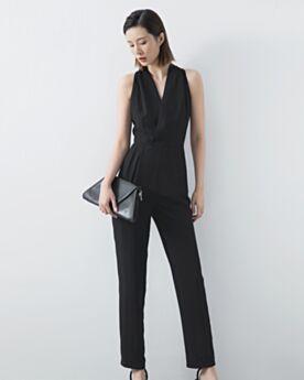 Mousseline Maxi Sans Manches Combinaison Pantalon D ete Fourreau Noir