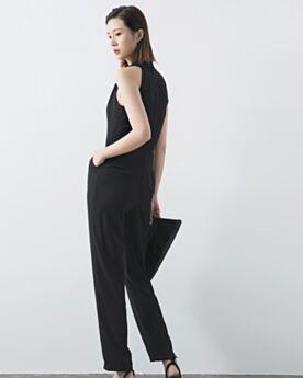 ブラック ロング シース パンツ ドレス シンプル な v ネック シフォン 78420190117