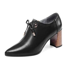 Tacon Medio Clasico Zapatos Oxford Tacon Grueso Oficina De Punta Fina Negros