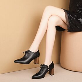 2019 Office Shoes Oxford Shoes For Women Block Heels Black Classic Pointed Toe Thick Heel Leather Mid High Heeled