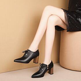 Talon Carrés Classique Chaussures De Bureau Cuir Noir Bout Pointu Chaussures Oxford Femme Talon À Bois