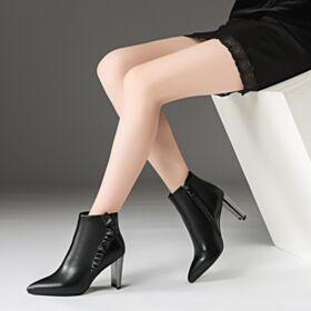 Klassisch Leder Gefütterte Lack Chelsea Business Schuhe Schwarz Chunky Heel High Heel Stiefeletten