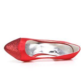 Talon Mid Rouge Élégant Chaussure De Mariée Satin Glitter Escarpins Bout Pointu Talon Aiguille