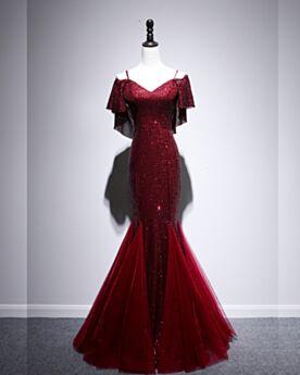 Abendkleider Glitzernden Elegante Tüll Pailletten Lange Burgunderrot Silvester Kleider