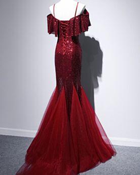 Elegant Open Back Ruffle Mermaid Burgundy Sequin Sparkly Evening Dresses Christmas Dresses