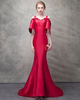 Summer Appliques Beading With Train Open Back Mermaid Elegant Red Formal Evening Dress Prom Dresses