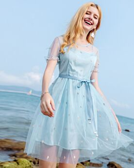 Hellblau Kurzarm Gerade Kleid Perle Tüll Schöne