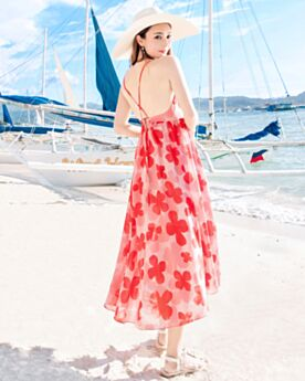 Bohemian Slip Dress Summer Beach Dress Printed Spaghetti Strap Empire Red Long Sundress