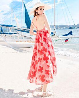 Rosso Stampato Beachwear Vestiti Boho Lunghi Chiffon Senza Maniche Estivi