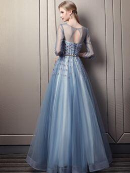 Halbe Ärmel Abendkleid Rückenfreies Transparentes Dunkelblaues Prinzessin Ballkleid Tüll Schöne Frühlings Lange