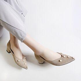 Zapatos Tacon Gamuza De Punta Fina Informales Tacon Ancho Elegantes Vestidos De Dia Piel Tacon Bajo Vestido De Oficina