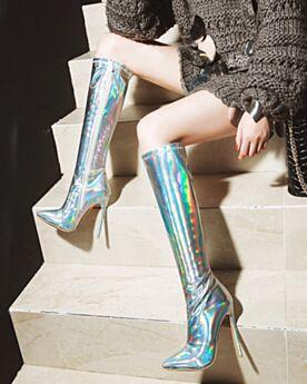Laarzen Dames Stiletto Gevoerde Imitatieleren Winter Sparkle Hoge Hakken Knie Hoge Laarzen