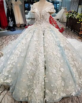 Ball Gowns Long Quinceanera Dresses Light Blue Low Cut Off The Shoulder Prom Dress Lace Juniors