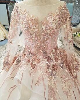 Corte Princesa Con Tul Largos Peplum Lujo Quinceañera Vestidos De 15 Años Con Manga Larga Rosa Viejo Vestidos Prom Encaje Transparentes