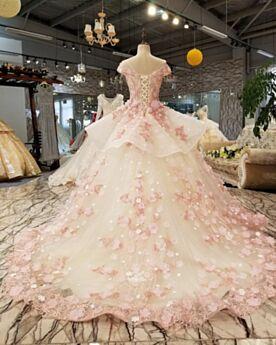 Sin Manga Largos Escotados Peplum Vestidos De Quinceañera Rosa Viejo Con Cola Bonitos Corte Princesa Vestidos De Fiesta Para Prom Elegantes De Encaje