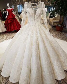 Escotados 2019 Vestidos De Novia Encaje De Lujo Transparente Elegantes Tul Blancos Para Premama Manga Larga