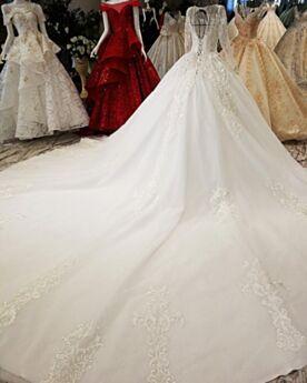 Dos Nu Décolleté Transparente Blanche Boule Dentelle Maternité Luxe Robes De Mariée Élégant Longue Manche Longue