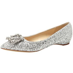 Flat Wedding Shoes Sparkly Ballerina Prom Shoes Glitter Silver