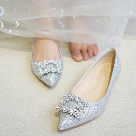 Argento Glitter Basse A Punta Con Strass Ballerine Scarpe Sposa