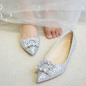Glitter 2019 Ballerina Schoenen Zilveren Runtige Neus Platte Bruidsschoenen Sparkle Comfort Steentjes Feestschoenen