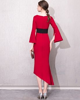 Bell Sleeved Half Sleeve Side Slit High Low Tea Length 2019 Red Semi Formal Dress Fit And Flare Elegant