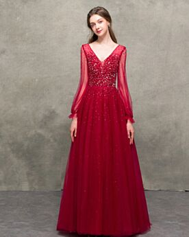 Formal Evening Dresses Backless Long Sleeves Tulle Burgundy Elegant Sparkly Sequin Prom Dresses Princess