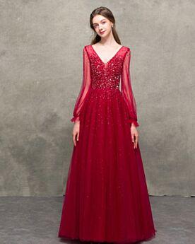 Tulle Linue A Schiena Scoperta Abiti Da Sera Maniche Lunghe Vestiti Da Cerimonia Con Perline Eleganti Luccicante Bordeaux