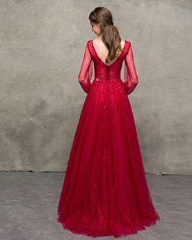 Elegante Abendkleid Ballkleid Perlen Burgunderrot Lange Ärmel Glitzernden Pailletten Lange