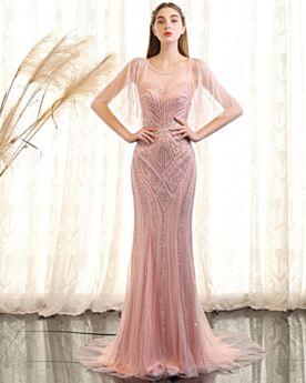 Perlen Konfirmationskleider Lange Rundhalsausschnitt Abendkleider Rückenfreies Rosa