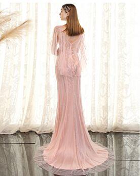 Bohemian Long Sweet 16 Dress Formal Dresses Blushing Pink Open Back Sleeveless Elegant Sheath