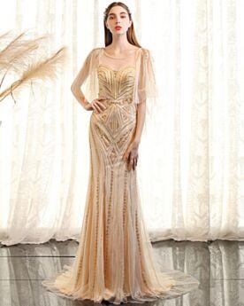 Sweet 16 Dress Long Boho Evening Dress Gold Sleeveless Elegant Beaded Sheath