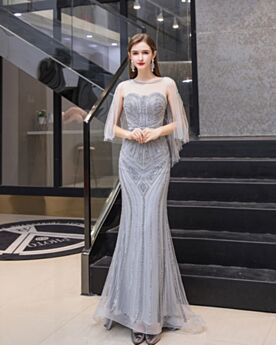 Elegant Backless Sheath Light Gray Bohemian Long Sleeveless Sweet 16 Dress Evening Dress