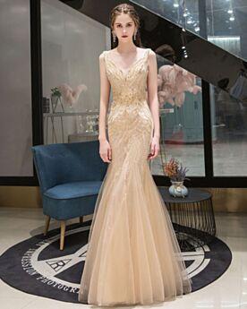 Mermaid Formal Dresses Sleeveless Sweet 16 Dress Long Low Cut Elegant Gold Sparkly