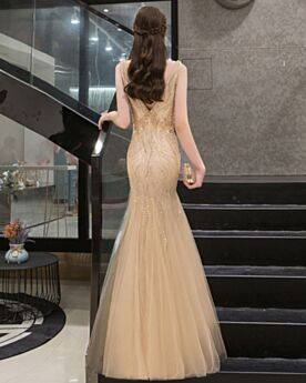 Meerjungfrau Perlen Elegante Kristall Glitzernden Abendkleid Rückenausschnitt Gold Tiefer Ausschnitt