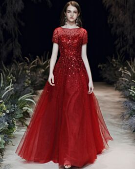 Robes De Soirée Paillette Princesse Brillante Longue Rouge Robe De Bal Belle Tulle