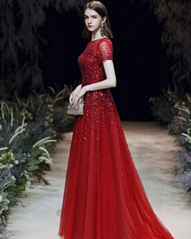 A Linie Elegante Abendkleid Kurzarm Ballkleid Rot Glitzernden 2020 Lange Perlen Pailletten