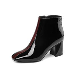 Mid High Heeled Patent Ankle Boots Thick Heel Leather Block Heels Chelsea Black Office Shoes Classic