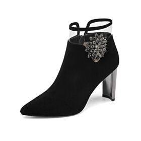 Booties Comfort Black Fashion With Crystal With Rhinestones Suede Pointed Toe High Heels