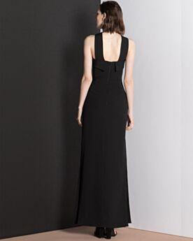 Semi Formal Dress Sleeveless Chiffon Cocktail Dress Vintage Sheath Halter Open Back Black Slit Simple Long