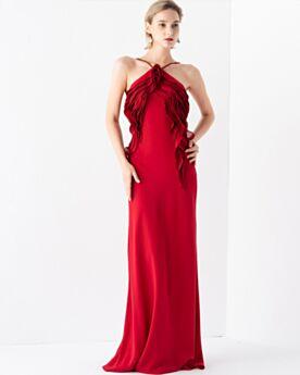 Volantes De Gasa Rojos Vestidos De Noche Largos Halter Elegantes Vestidos De Fiesta