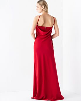 Sleeveless Elegant Open Back Long Evening Dresses Red Sheath Chiffon