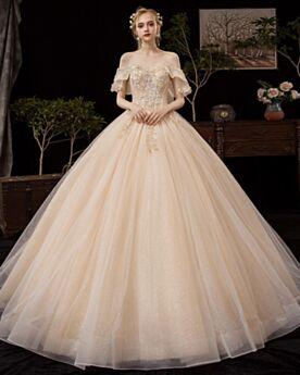 Prinzessin Off Shoulder Tüll Brautkleid Glitzernden Applikationen Schulterfreies Glitzer Rückenausschnitt