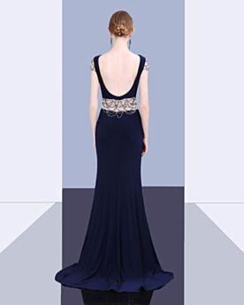 Largos Corte Sirena De Flecos Con Cuentas Azul Marino 2020 Vestidos De Noche