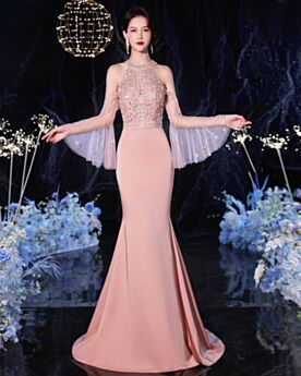 Long Formal Evening Dress Halter Charming Coral Sparkly Beading Long Sleeved Sweet 16 Dress Chiffon