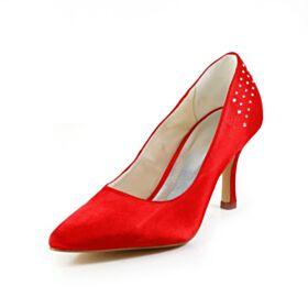 Mit Strasssteine 2020 Stilettos Mit 8 cm High Heels Rot Spitz Zeh Elegante Brautschuhe Pumps