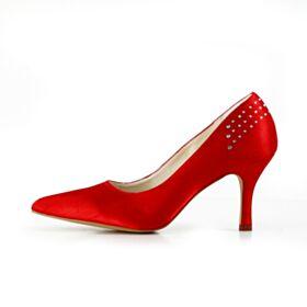 Bout Pointu Chaussure Mariage Escarpins Talons Aiguilles 8 cm Talon Haut Élégant Rouge