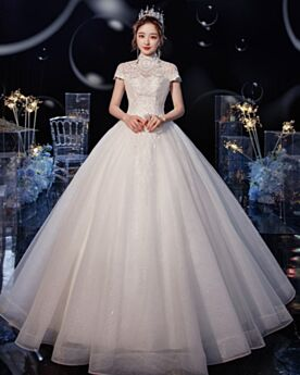 Elegantes Cuello Alto Con Encaje Corte Princesa De Encaje Con Manga Corta Espalda Descubierta Vestidos De Novia