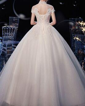Elegante Spitzen Tüll Rückenfreies Prinzessin Brautkleider