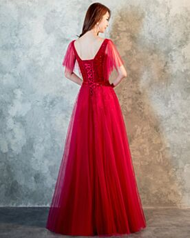 Rückenausschnitt Konfirmationskleider Abendkleid Lange Pailletten 2018 Tüll Ballkleider